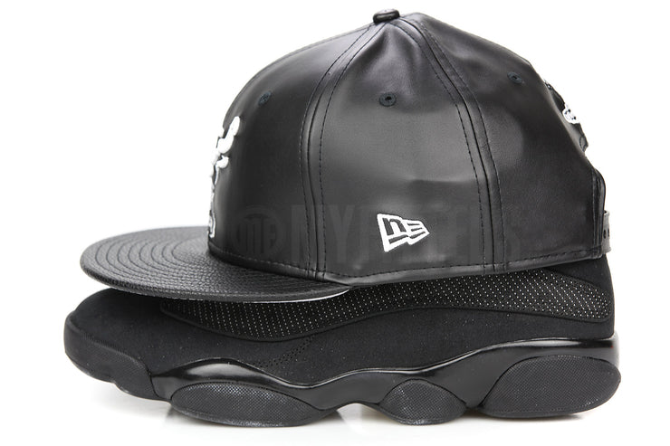 "Chicago Bulls Jet Black Faux Leather & Pebbled White Air Jordan III ""Cyber Monday"" New Era Snapback"