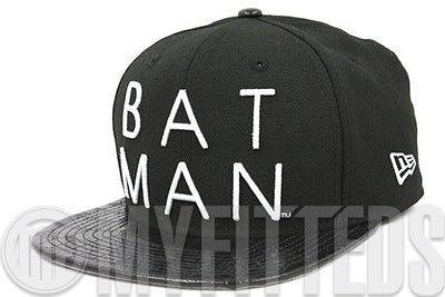 Batman Sharp Word Jet Black & Faux Croc Skin Glacial White Original Fit New Era Strapback