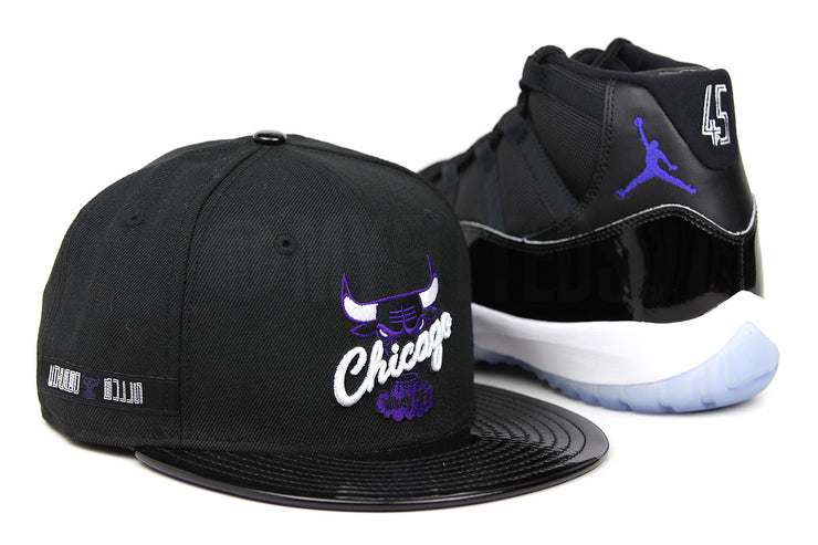 "Chicago Bulls Jet Black and Faux Patent Concord Air Jordan XI ""Space Jam"" OG New Era Hat"