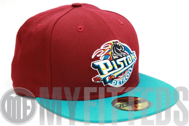 Detroit Pistons Russet Sunset Prismatic Green New Era Fitted Cap