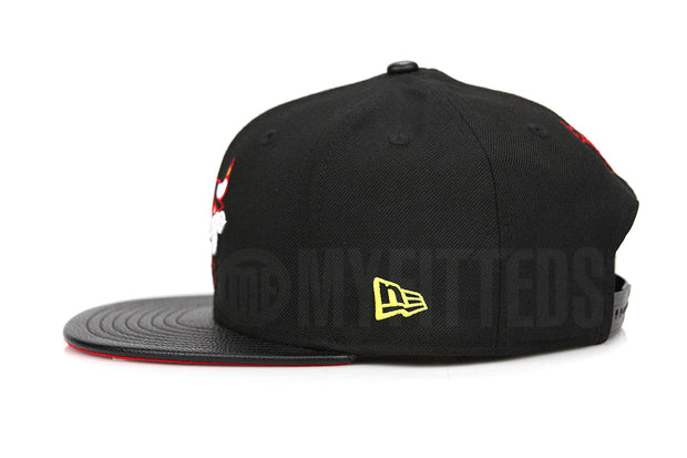 Chicago Bulls Jet Black Faux Pebbled Moonbeam Air Jordan XIII / XIV Playoffs New Era Snapback