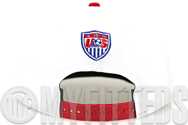 Team USA Soccer Glacial White Garnet Fire Club Royal Waving Flag New Era Snapback Hat