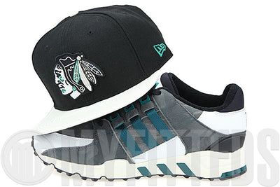 Chicago Blackhawks Jet Black Ivory Grey Pure Aqua Adidas EQT Running Support 93 TOKYO New Era Snapback