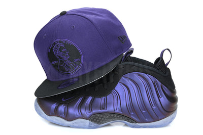 "Penny One Cent 1¢ Concord Jet Black Air Foamposite One ""Eggplant"" New Era Snapback Hat"