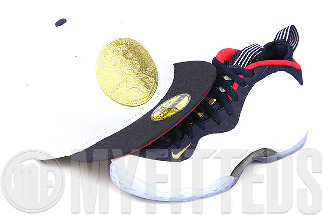 "Penny 1¢ One Cent Glacial White Midnight Navy Air Foamposite One ""Olympic"" New Era Fitted Cap"