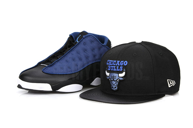 "Chicago Bulls Jet Black & Faux Pebbled Serene Slate Air Jordan XIII Low ""Brave Blue"" New Era Fitted Cap"