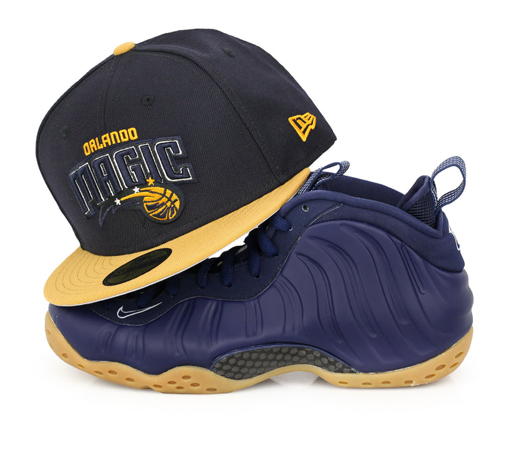 meet 70146 d585e ORLANDO MAGIC MIDNIGHT NAVY AIR FOAMPOSITE ONE NAVY / GUM NEW ERA FITTED CAP