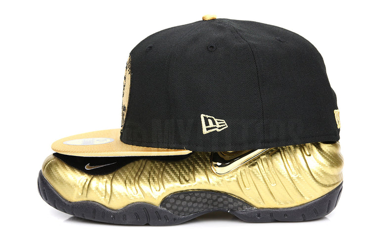 "Penny 1¢ One Cent Jet Black Metallic Gold Air Foamposite Pro ""Metallic Gold"" New Era Hat"