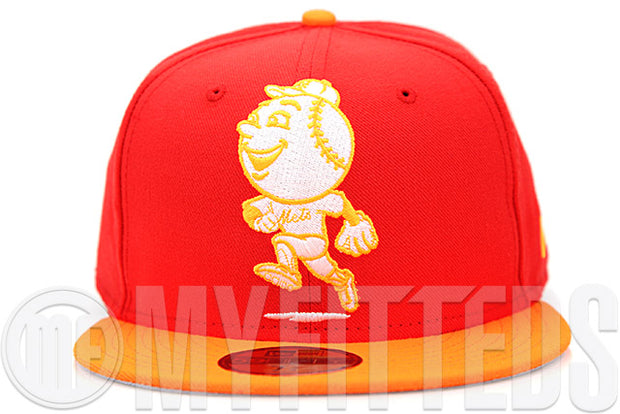 New York Mets Mr. Met Erupting Magma Atomic Saffron Glacial White New Era Fitted Cap