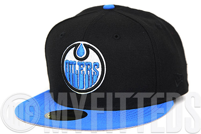 Edmonton Oilers Jet Black Cerulean Blue Glacial White 1979-2004 25th Anniversary New Era Fitted Cap
