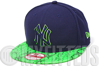 New York Yankees Midnight Navy Blue Treasure Green Snakeskin New Era Strapback Hat