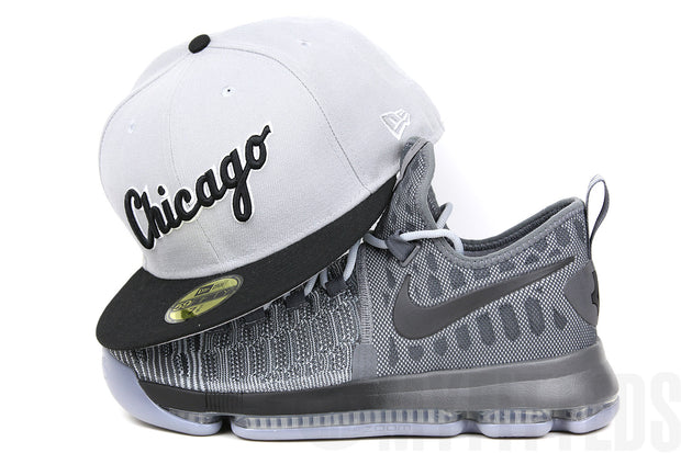 Chicago White Sox Placid Grey Jet Black Glacial White Road Jersey Inspired Wordmark New Era Fitted Cap
