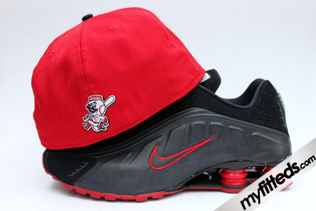 "Cincinnati Reds Garnet Fire Jet Black Air Foamposite One QS ""Metallilc Red"" Retro Smooth New Era Hat"