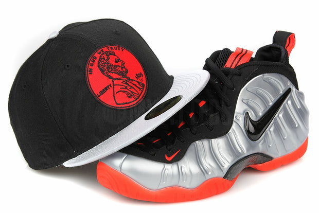 "Penny 1¢ One Cent Jet Black Metallic Silver Air Foamposite Pro ""Crimson"" New Era Hat"