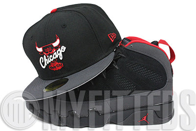 Chicago Bulls Jet Black Carbon Graphite Scarlet Air Jordan IX Retro Charcoal Matching New Era Hat