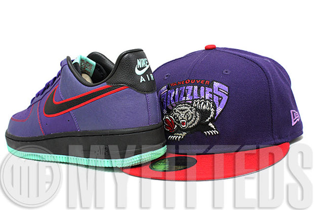 Vancouver Grizzlies Concord Purple Varsity Red Metallic Silver Jet Black New Era Fitted Hat