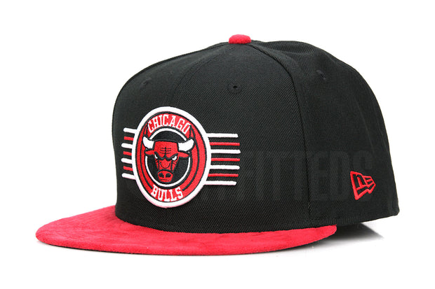 "Chicago Bulls Aviator Jet Black Scarlet Faux Suede Air Jordan V ""Flight Suit"" New Era Hat"