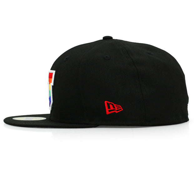 UNIVERSITY OF UTAH UTES JET BLACK / RAINBOW LOGO NEW ERA FITTED CAP