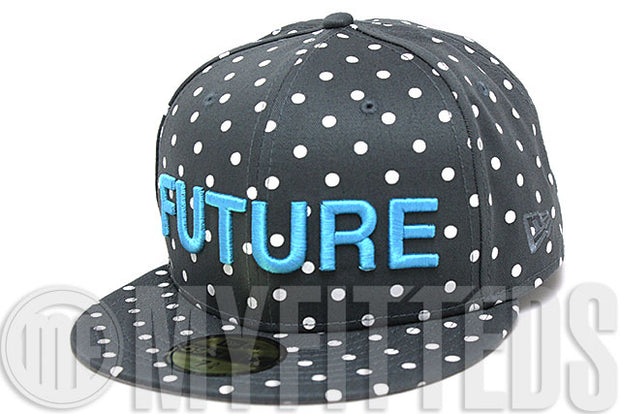 Ekocycle Coca Cola FUTURE Carbon Graphite Coast Blue White Polka Dot 59Fifty Recycled New Era Fitted Hat