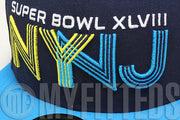Superbowl XLVIII 48 NY NJ Navy Blue Aqua Yellow NFL Commemorative New Era Fitted Hat