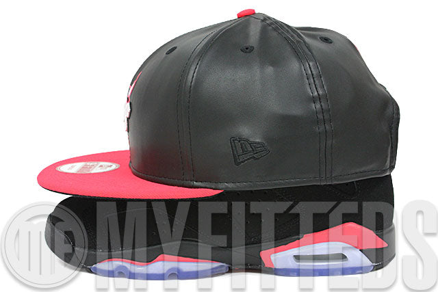Chicago Bulls Jet Black Faux Leather Infrared Bliss Air Jordan VI Infrared Matching New Era Snapback
