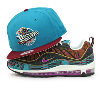 buy popular e4258 63e6f DETROIT PISTONS PRISM AQUA   RUSSET AIR MAX 98 QS