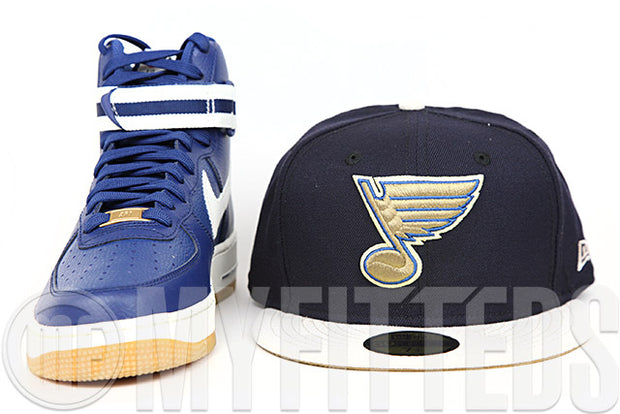 St. Louis Blues Midnight Navy Sandstone Wheat Toast Air Force 1 High '07 Matching New Era Hat