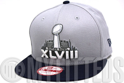Superbowl XLVIII 48 NY NJ Placid Grey Navy Blue White Grey NFL Commemorative New Era Strapback
