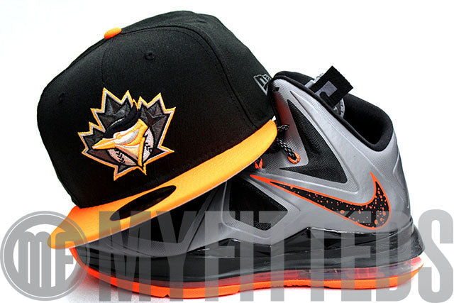 Toronto Blue Jays Jet Black Neon Orange Gunmetal Grey White New Era Fitted Hat