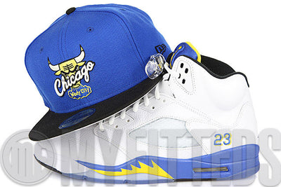 "Chicago Bulls Varsity Royal Jet Black Argent Gold Air Jordan V XIV Low ""Laney"" Matching New Era Hat"