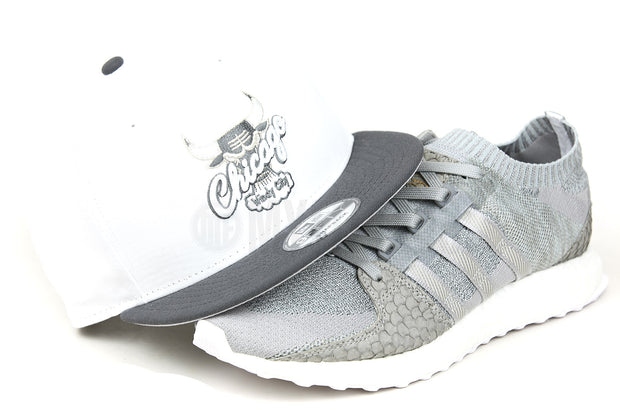 "Chicago Bulls Glacial White Carbon Graphite AJ XI ""Grey Suede"" & EQT Support Ultra Primeknit ""King Push"" New Era Hat"