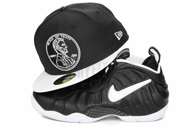 "Penny 1¢ One Cent Jet Black Glacial White Air Foamposite Pro ""Doctor Doom"" Matching New Era Hat"