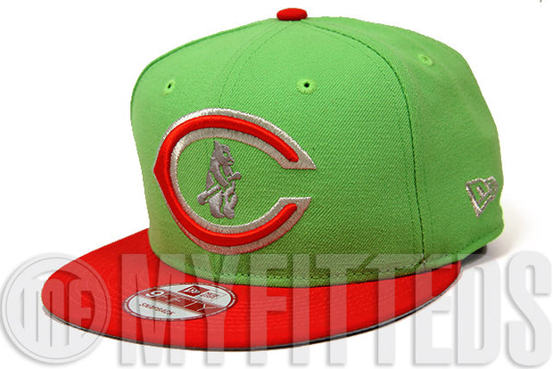 Chicago Cubs Electron Lime Erupting Magma Metallic Silver Sparkle Custom New Era Snapback Hat