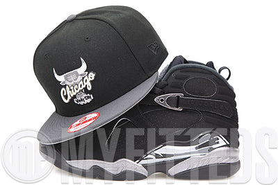"Chicago Bulls Jet Black Carbon Graphite Silver Main Air Jordan VIII ""Chrome"" Matching New Era Snapback"