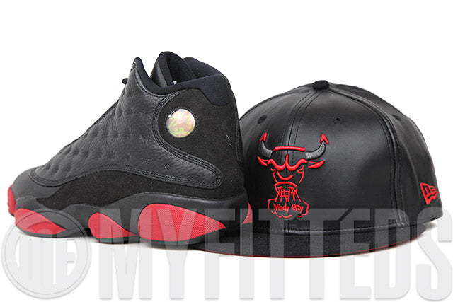 Chicago Bulls The Trace Jet Black Faux Leather & Melton University Red Air Jordan Retro XIII New Era Snapback