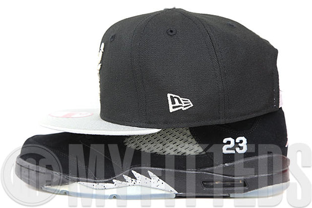 Los Angeles Kings Jet Black Metallic Silver Air Jordan V Black Metallic Silver New Era Fitted Cap