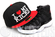 "I Love My Kicks Jet Black Garnet Fire Glacial White Air Jordan XI ""72-10"" Matching New Era Fitted Cap"