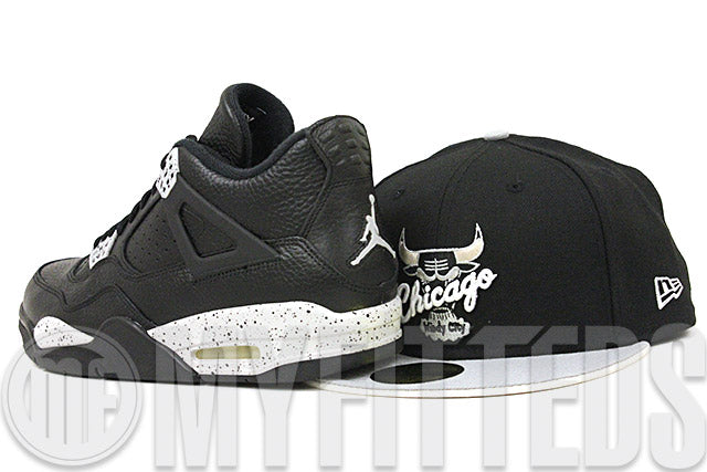 Chicago Bulls Jet Black Placid Gray Sandstone Air Jordan IV Remastered Oreo Matching New Era Hat