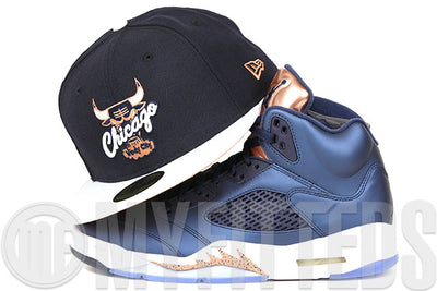 "Chicago Bulls Midnight Navy Glacial White Metallic Copper Air Jordan V ""Bronze"" Matching New Era Hat"