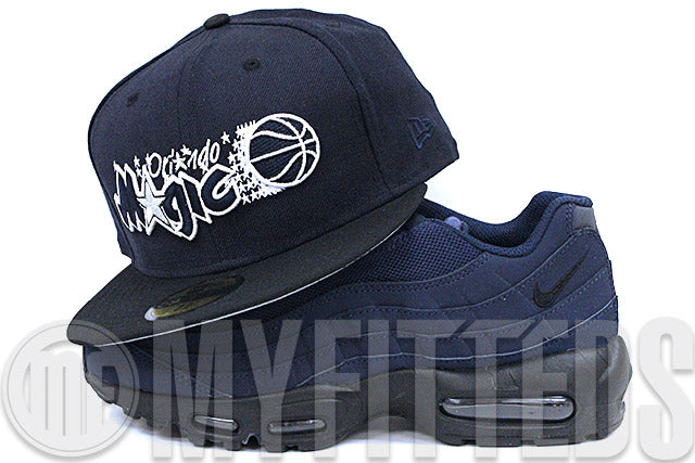 Orlando Magic Midnight Navy Jet Black Frost White Air Max 95 Midnight Navy Matching New Era Hat