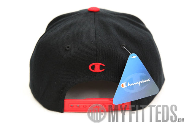 Champion Big C Chenille Jet Black Scarlet Classic Snap Back Hat