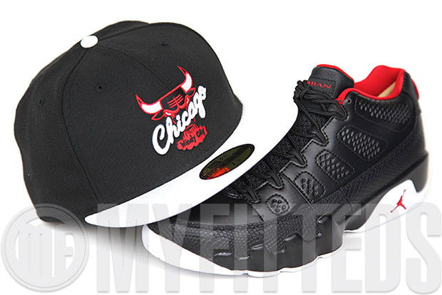 "Chicago Bulls Jet Black Glacial White Scarlet Air Jordan IX Low ""Derek Anderson"" New Era Fitted Cap"