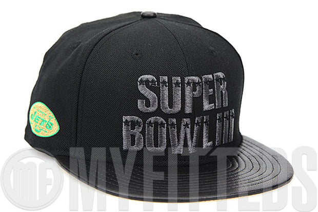 New York Jets Super Bowl III Champions Jet Black Saddle Grain Leather Visor New Era Fitted Cap