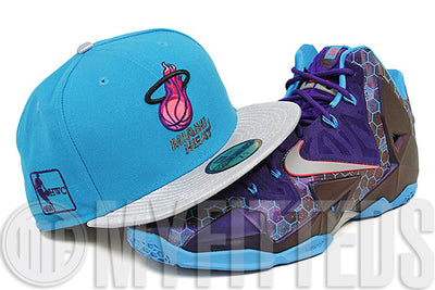 Miami Heat Galaxy Trail Metallic Silver Jet Black Summit Lake Hornets LeBron XI New Era Hat