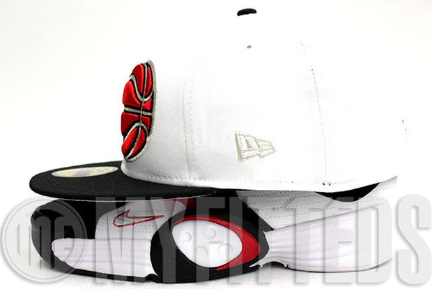 Orlando Magic XL Ball Logo Glacial White Jet Black University Red Metallic Silver New Era Fitted Hat