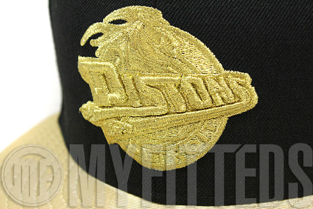 Detroit Pistons Jet Black Metallic Gold Gold Foamposite Huarache Trash Talk New Era Hat