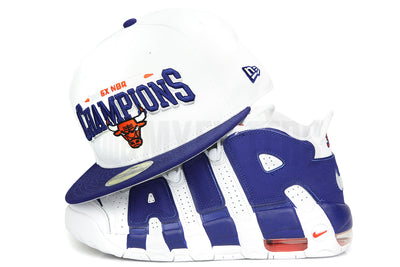 "Chicago Bulls 6X Champs Glacial White Dark Blue Ink Air More Uptempo 96 ""Knicks""  New Era Hat"