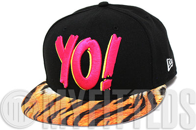 YO! MTV Raps Jet Black Glacial White Tiger Print Graffiti Print New Era Fitted Hat