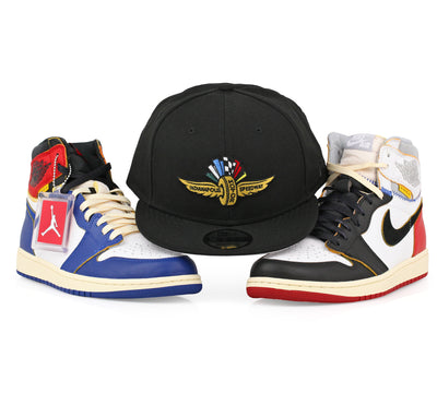 "INDIANAPOLIS MOTOR SPEEDWAY AIR JORDAN I ""UNION / LA"" BLACK & BLUE TOE NEW ERA SNAPBACK"