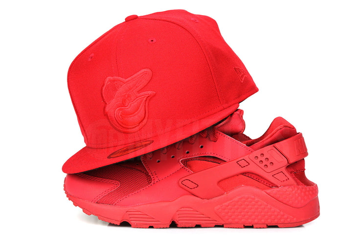 Baltimore Orioles Omni Scarlet Jet Black Air Huarache Run Red October New Era Hat